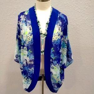 Beautiful Plum blue/green/white floral kimono